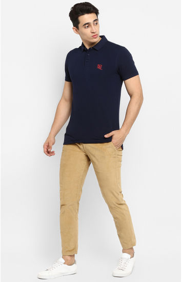 Navy Solid Slim Fit T-Shirts