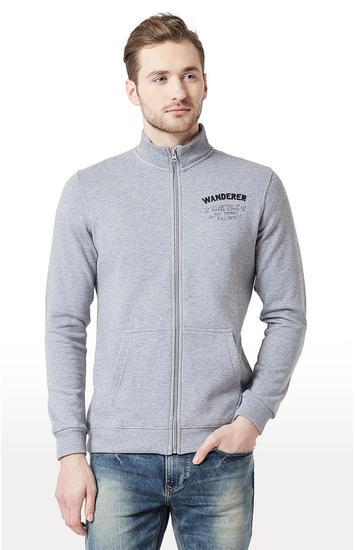 Grey Melange Slim Fit Front Open Jackets