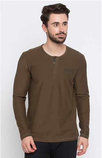 Military Olive Solid Slim Fit T-Shirts