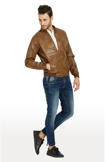 Tan Solid Regular Fit Leather Jackets