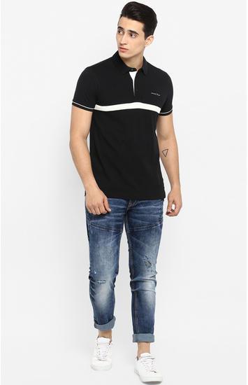 Black Striped Slim Fit T-Shirts
