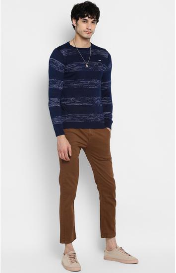 Indigo Striped Slim Fit T-Shirts