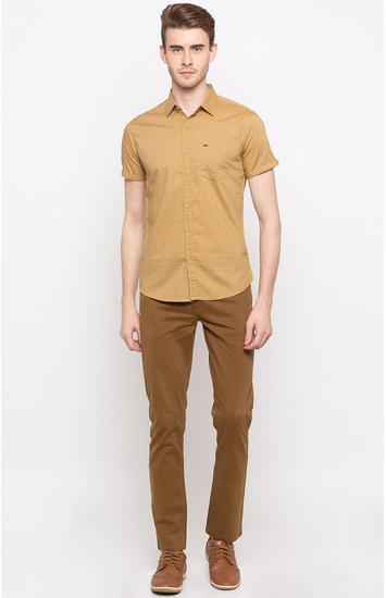 Khaki Printed Slim Fit Casual Shirts