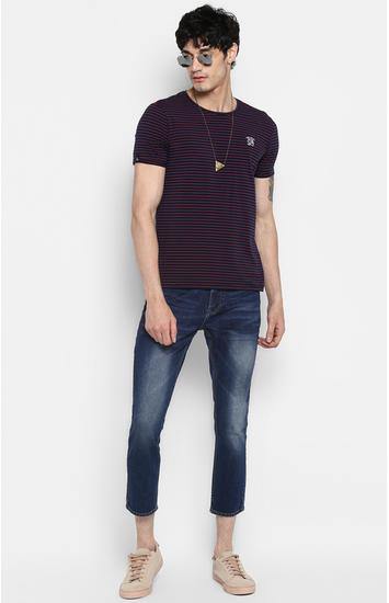 Navy & Orange Striped Slim Fit T-Shirts