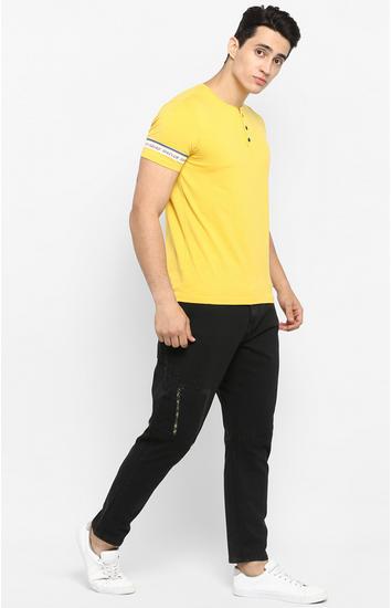 Mustard Solid Slim Fit T-Shirts