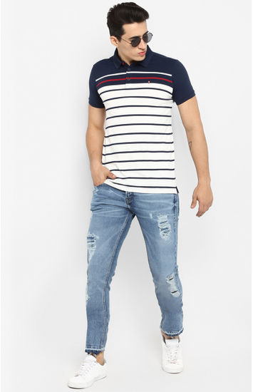 Navy & White Striped Slim Fit T-Shirts