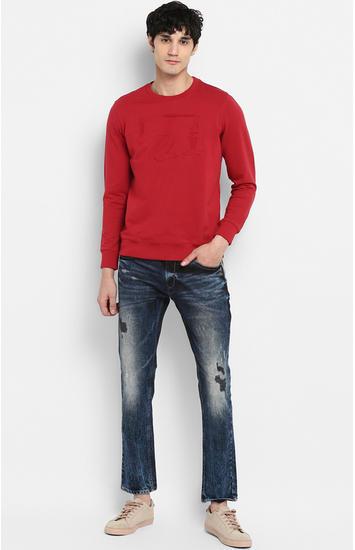 Red Solid Slim Fit Sweatshirts