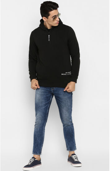 Black Solid Regular Fit Hoodies