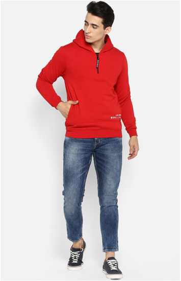 Red Solid Regular Fit Hoodies