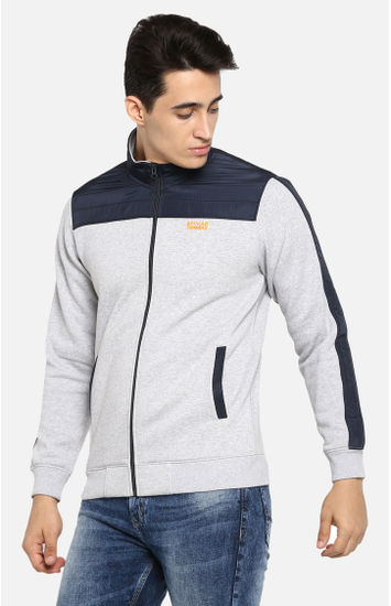 Grey Melange Regular Fit Sweatshirts