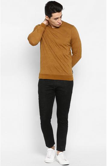 Khaki Printed Slim Fit Sweatshirts