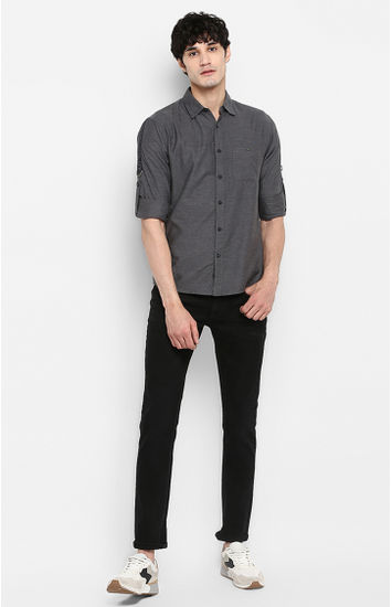 Grey Melange Slim Fit Casual Shirts