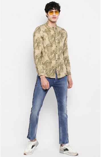 Khaki Camouflage Slim Fit Casual Shirts