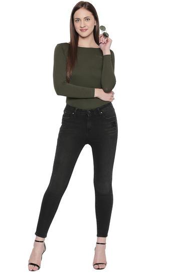 Carbon Black Solid Slim Fit Jeans