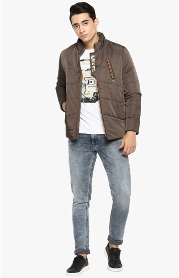 Olive Solid Slim Fit Bomber Jackets