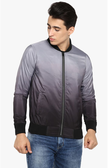 Grey Solid Slim Fit Bomber Jackets
