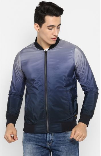 Blue Solid Slim Fit Bomber Jackets
