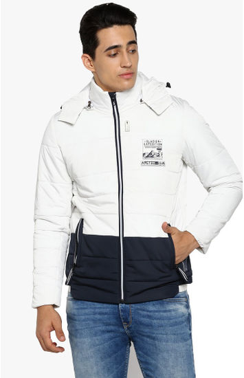 White Colourblock Slim Fit Bomber Jackets