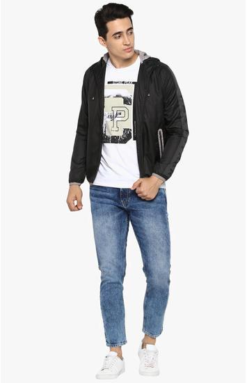 Black Solid Slim Fit Activewear Jackets