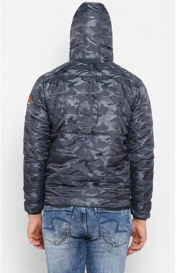 Grey Camouflage Slim Fit Bomber Jackets