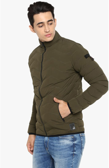 Olive Solid Slim Fit Bomber Jackets