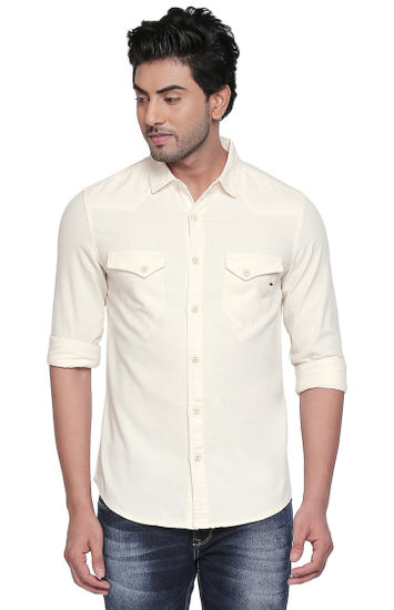 Ecru Solid Slim Fit Casual Shirts