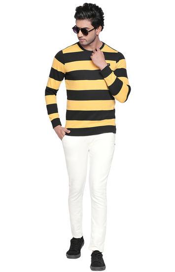 Jet Black & Yellow Striped Slim Fit T-Shirts
