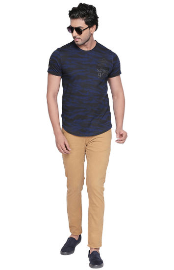 Ink Blue Camouflage Slim Fit T-Shirts