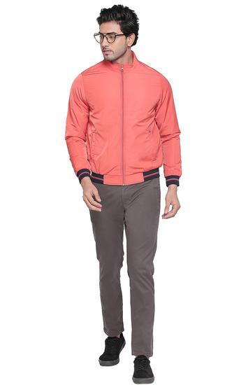 Orange Solid Regular Fit Bomber Jackets