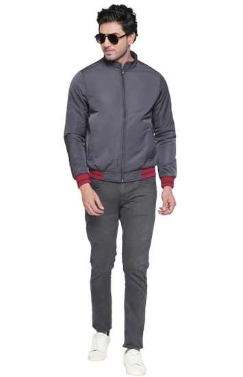 Grey Solid Regular Fit Bomber Jackets