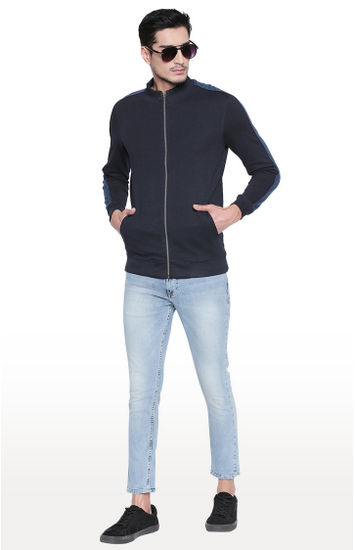 Navy Solid Slim Fit Sweatshirts