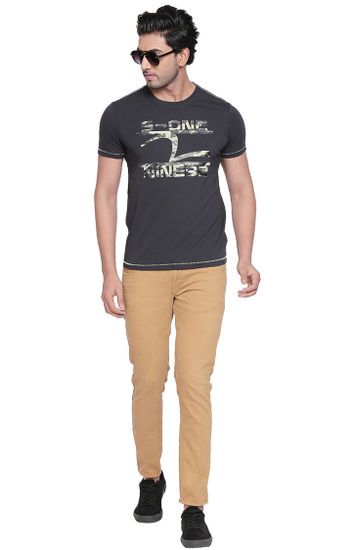 Charcoal Printed Slim Fit T-Shirts