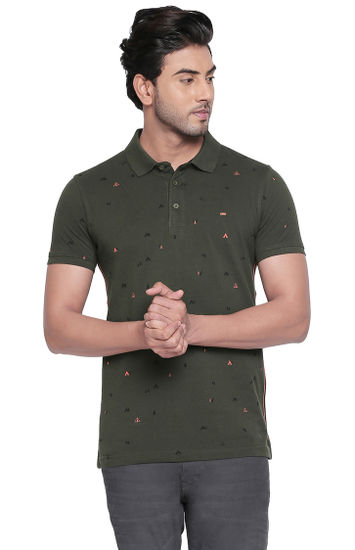 Green Printed Slim Fit Polos