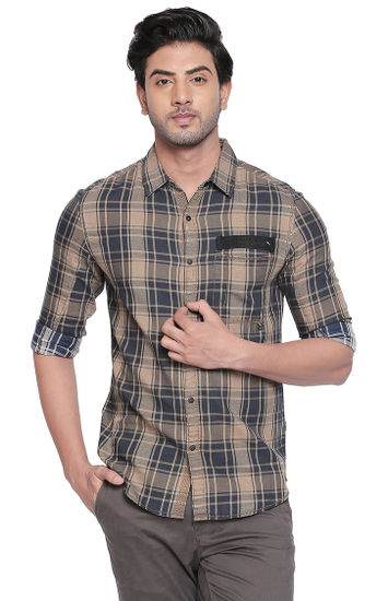 Khaki Checked Slim Fit Casual Shirts