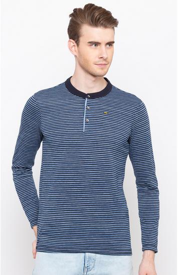 Blue Striped Slim Fit T-Shirts