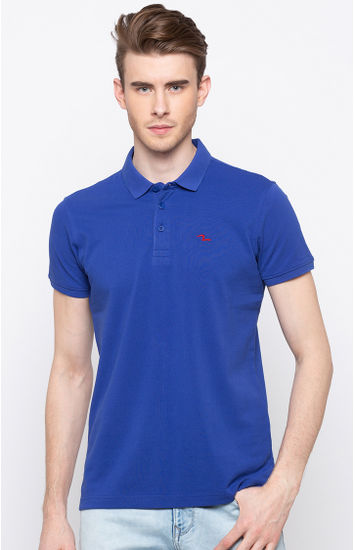 Blue Solid Slim Fit Polos