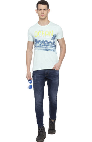 Aqua Printed Slim Fit T-Shirts
