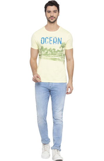 Lime Printed Slim Fit T-Shirts