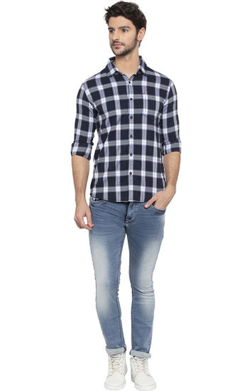 Navy Checked Slim Fit Casual Shirts