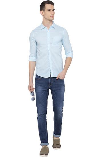 Aqua Striped Slim Fit Casual Shirts