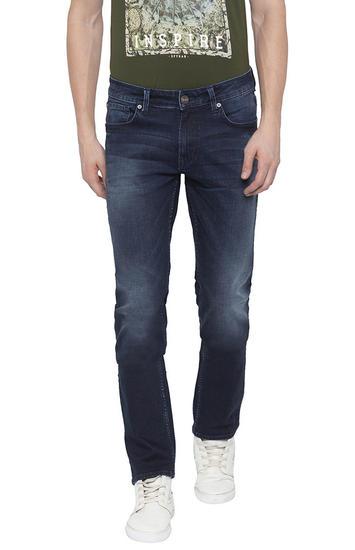 Dark Blue Solid Slim Thigh Narrow Leg Fit Jeans