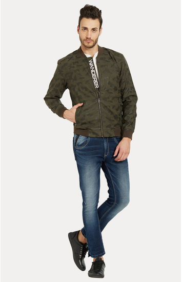 Green Solid Slim Fit Bomber Jackets