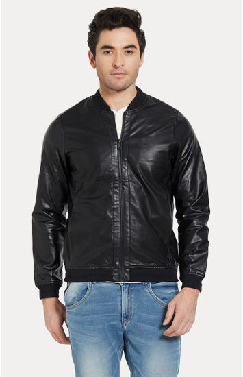Black Solid Slim Fit Leather Jackets