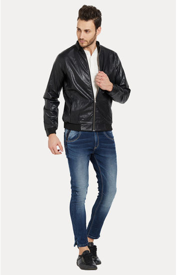 Black Solid Slim Fit Leather Jackets