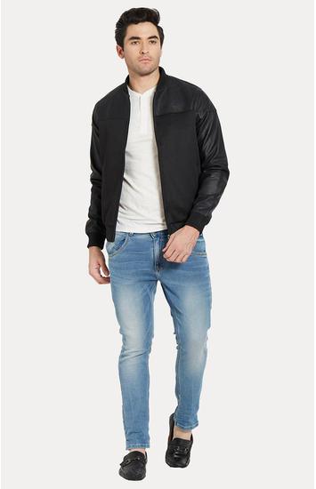 Black Solid Slim Fit Bomber Jackets