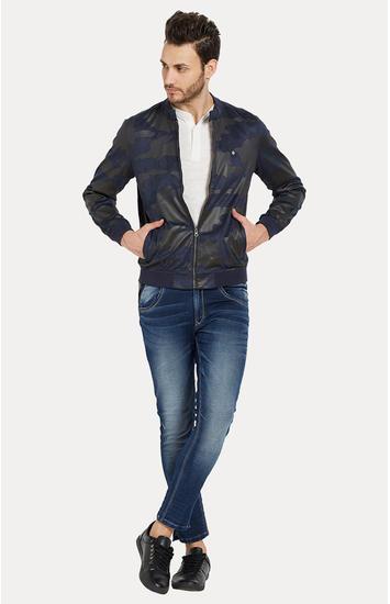 Blue Solid Slim Fit Bomber Jackets