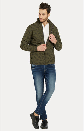 Green Camouflage Slim Fit Bomber Jackets