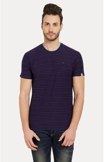 Blue & Red Striped Slim Fit T-Shirts