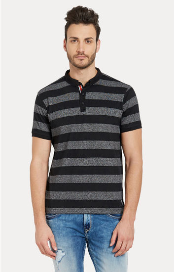 Black Striped Slim Fit Polo T-Shirt
