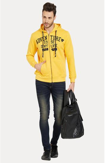 Yellow Printed Slim Fit Hoodies